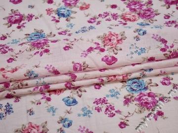 Батист с розовыми голубыми цветами хлопок ББ354