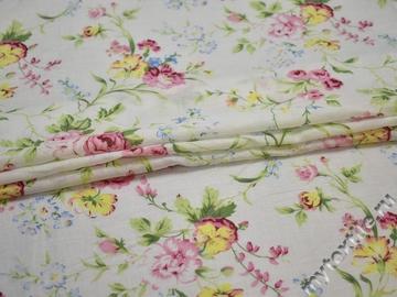 Батист белый с розовыми желтыми цветами хлопок ББ370