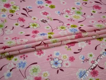 Батист с розовыми голубыми цветами хлопок ББ344
