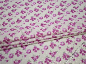 Батист белый с сиреневыми цветами люрекс хлопок ББ333