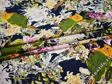 Батист синий птицы цветы хлопок ББ374