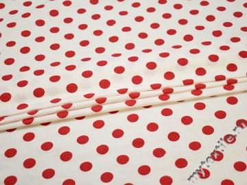 Хлопок с эластаном белый красный горох ББ377