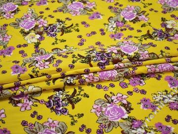 Хлопок с эластаном желтый розовый цветы ББ335
