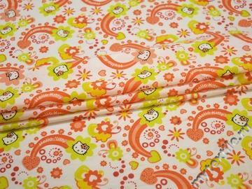 Хлопок оранжевый цветы надписи животные ББ391