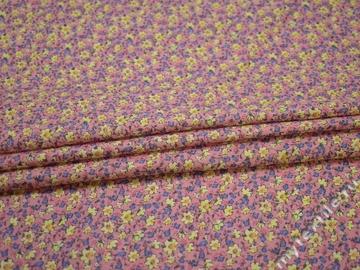 Хлопок розовый голубой цветы ББ368