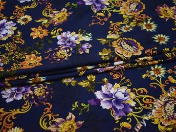 Плательная синяя желтая ткань цветы полиэстер эластан ББ193