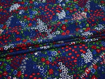 Хлопок синий красный цветы полиэстер эластан ББ198
