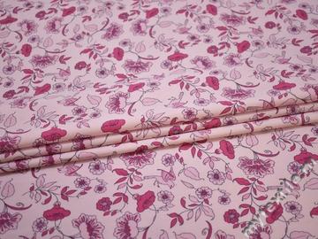 Хлопок розовый цветочный узор ББ3114
