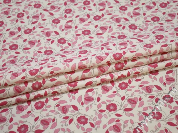 Хлопок розовый белый цветы ББ3107