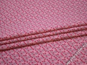 Хлопок розовый цветочный узор ББ353