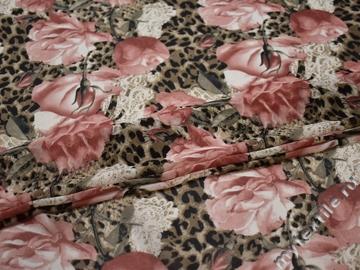 Шифон пудровый коричневый цветы леопард полиэстер ББ478