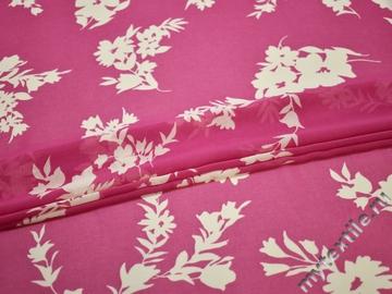 Шифон розовый белый  цветы листья полиэстер ЕБ578