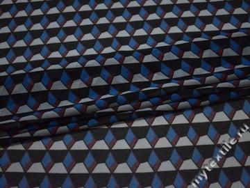 Шифон синий бордовый геометрия полиэстер ББ4136