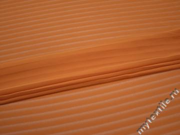 Шифон оранжевый полоска полиэстер ББ4123