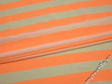 Шифон оранжевый молочный полоска полиэстер ББ440