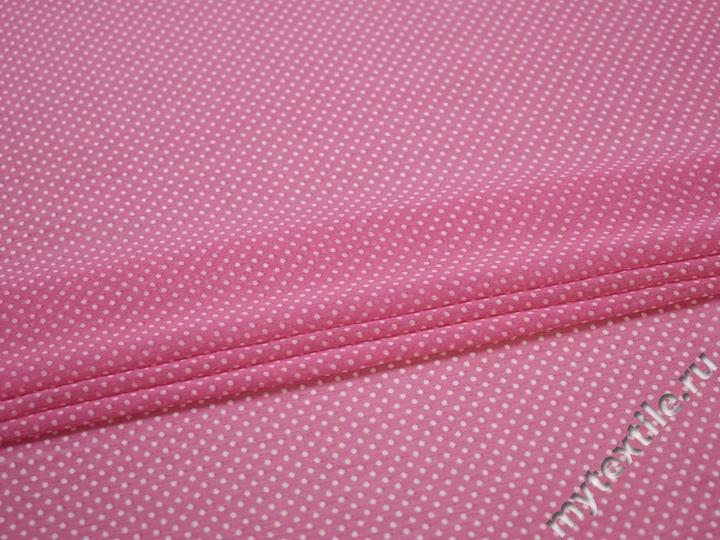 Шифон розовый белый горох полиэстер ББ463