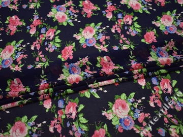 Шифон синий розовый цветы полиэстер ББ462