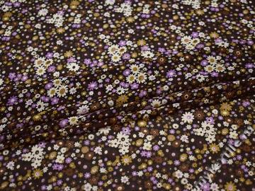 Шифон коричневый сиреневый цветы полиэстер ББ455