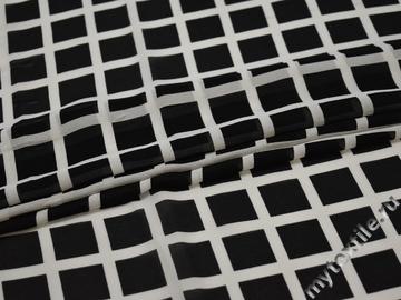 Шифон черный белый квадрат полиэстер ББ464