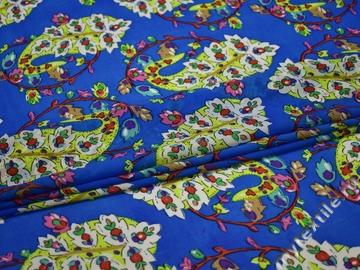 Шифон голубой салатовый пейсли цветы полиэстер ББ3449