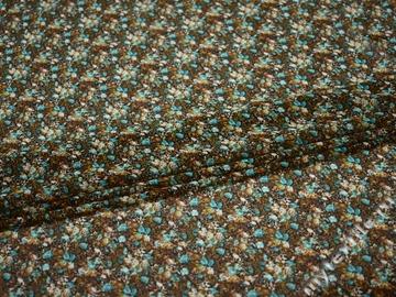 Шифон коричневый бирюзовый цветы полиэстер ББ452