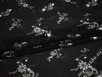 Шифон черный белый цветы узор полиэстер ББ479