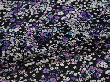 Шифон белый сиреневый цветы полиэстер ББ49