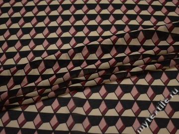 Шифон бордовый черный геометрия полиэстер ББ459