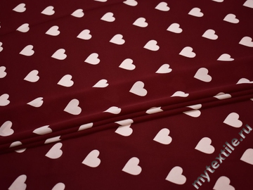Шифон бордовый белый сердце полиэстер ББ418