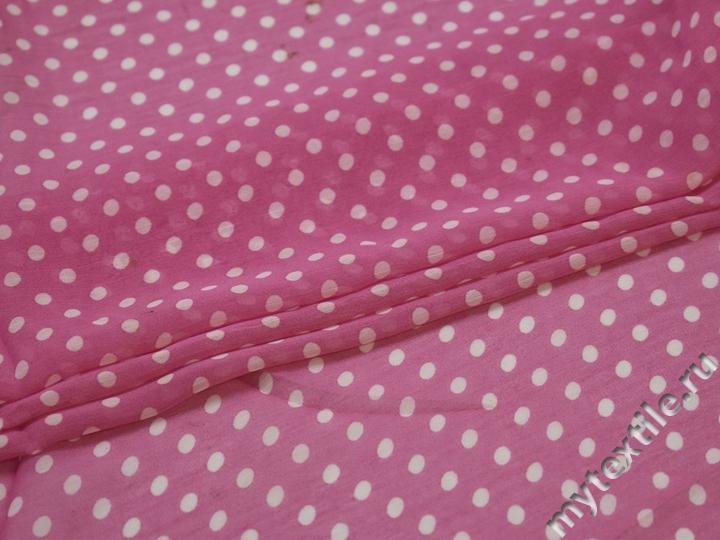Шифон розовый белый горох полиэстер ББ428