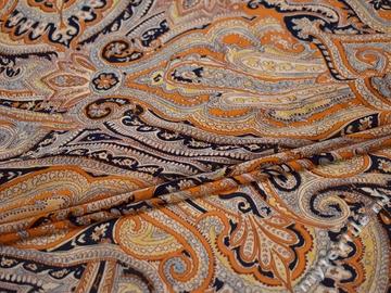 Шифон оранжевый синий узор полиэстер ББ423