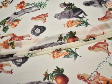 Шифон белый оранжевый цветы фрукты обезьяны полиэстер ББ441
