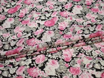 Шифон розовый серый цветы полиэстер ББ413