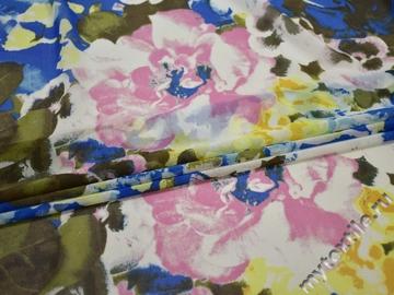 Шифон синий розовый цветы полиэстер ББ467