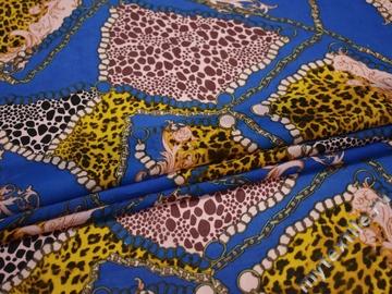 Шифон синий желтый леопард узор полиэстер ББ466