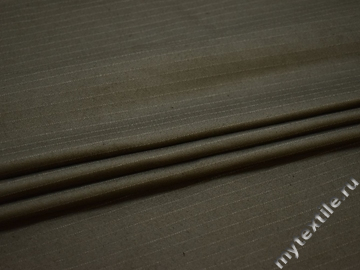 Костюмная оливковая ткань полоска хлопок ВД163