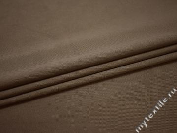 Костюмная серая коричневая ткань хлопок эластан ВД559