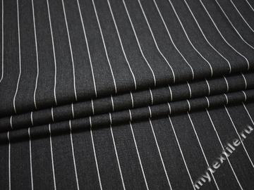 Костюмная серая ткань полоска шелк хлопок ВЕ383