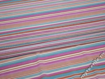Сетка-стрейч розовая голубая полоска полиэстер БД460