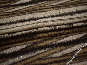 Пальтовая бежевая коричневая ткань полоска шерсть ГЖ26