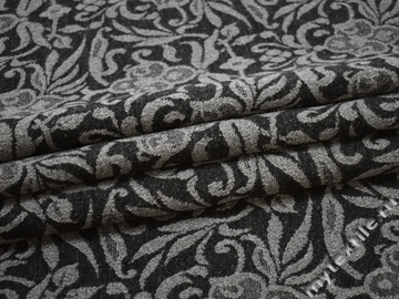 Пальтовая серая ткань цветы шерсть полиэстер ГЖ124