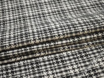 Пальтовая черная белая ткань узор шерсть полиэстер ГЖ129