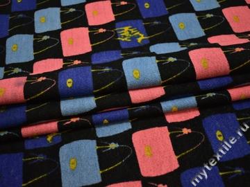 Пальтовая синяя коралловая ткань шерсть полиэстер ГЖ16