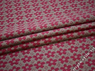 Пальтовая серая розовая ткань цветы шерсть полиэстер ГЖ15