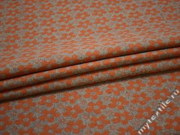 Пальтовая серая оранжевая ткань цветы шерсть полиэстер ГЖ14