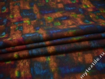 Пальтовая терракотовая ткань абстракция полиэстер шерсть ГЖ18