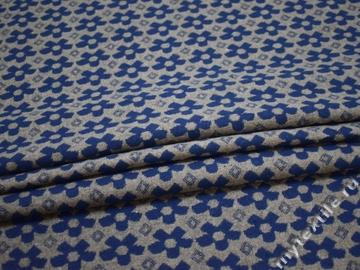 Пальтовая серая синяя ткань цветы полиэстер шерсть ГЖ12