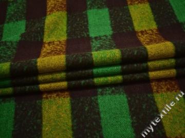 Пальтовая зеленая коричневая ткань полиэстер шерсть ГЖ116