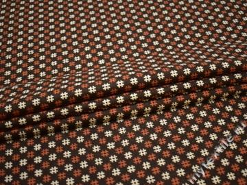Пальтовая коричневая терракотовая ткань полиэстер шерсть ГЖ113