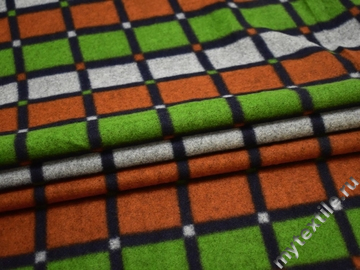 Пальтовая оранжевая зеленая ткань полиэстер шерсть ГЖ133
